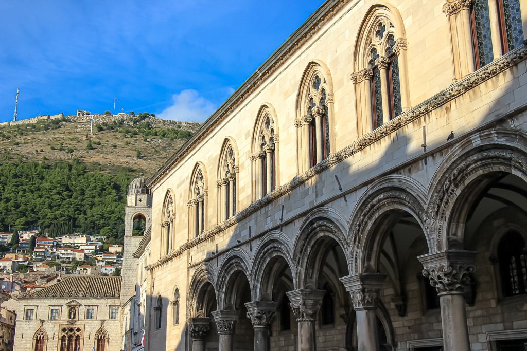 Rector's Palace and view to Mount Srd in Dubrovnik, Croatia