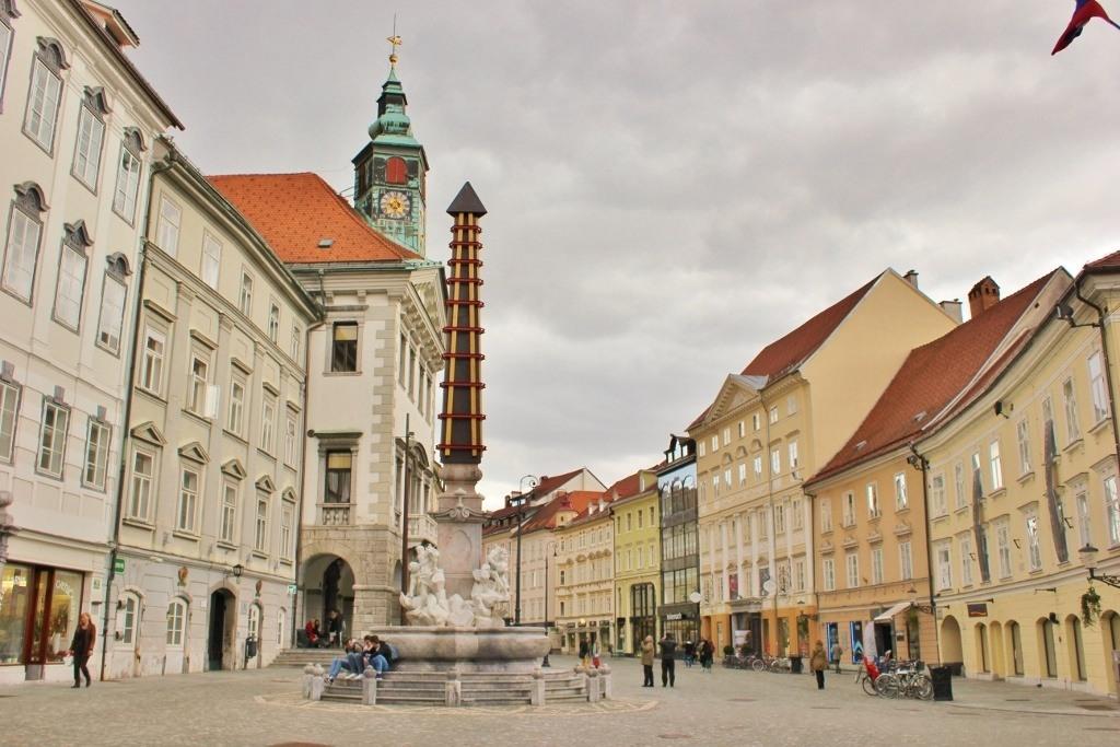 The Ljubljana Old Town and Three Rivers Fountain on Old Square in Ljubljana, Slovenia
