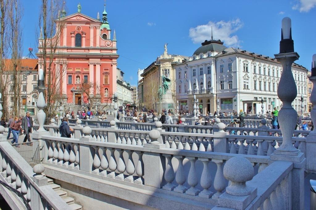 Landmark Triple Bridge by Joze Plecnik in Ljubljana, Slovenia