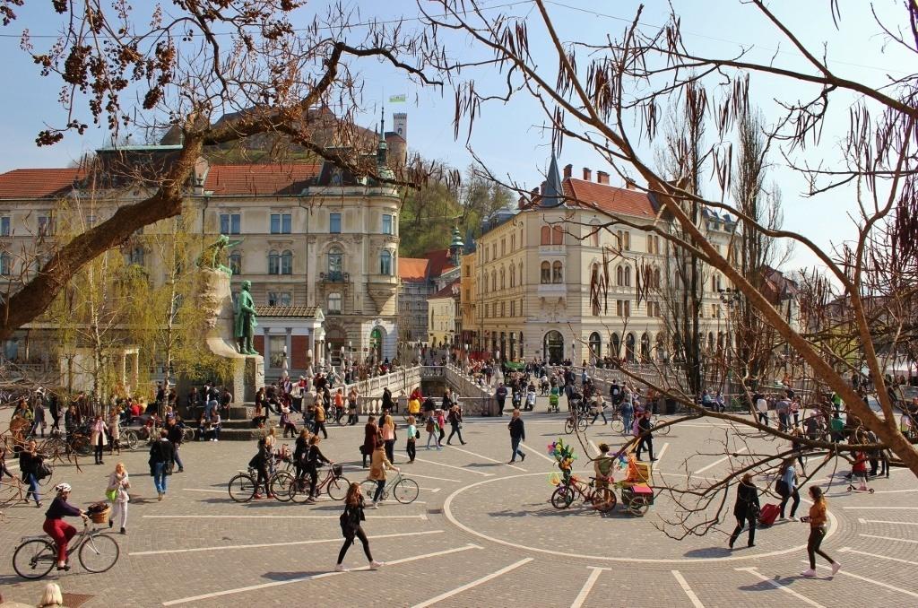View of Preseren Square, Ljubljana, Slovenia