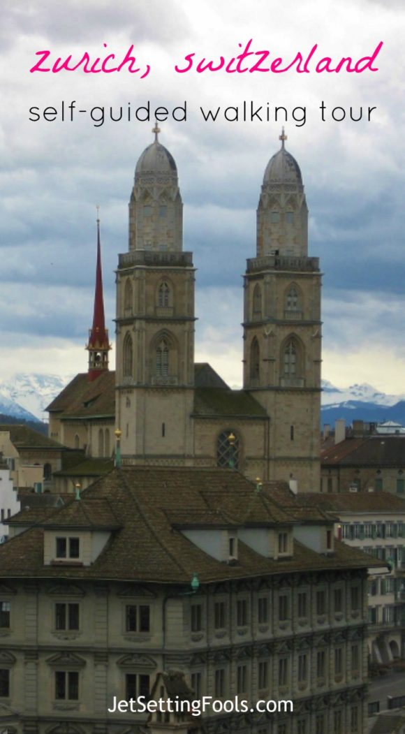 Zurich, Switzerland City and Grossmunster Cathedral view from Lindenhof Park JetSetting Fools