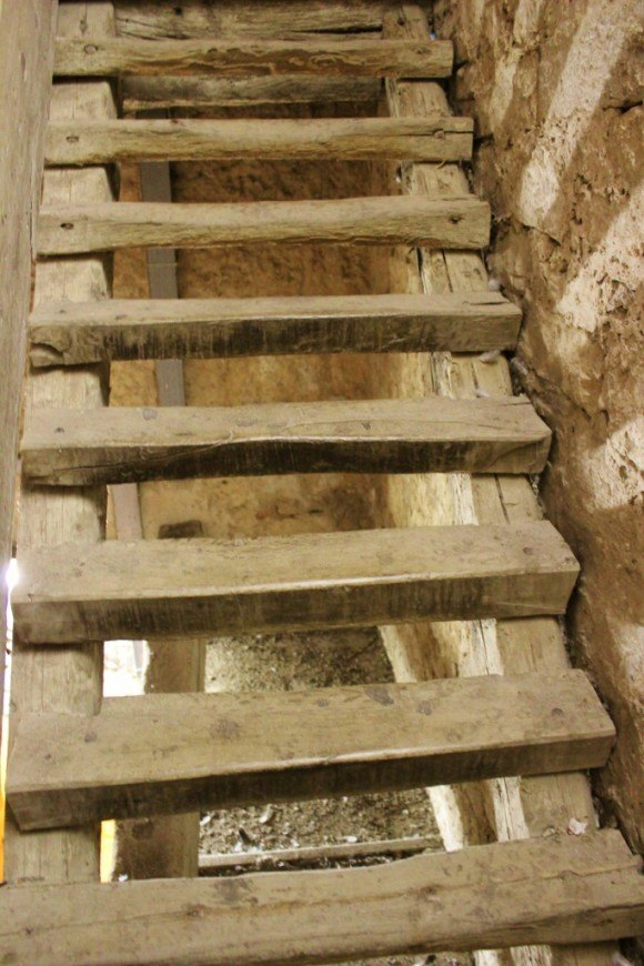 The rickety old stairs leading to the top of the St. Euphemia Church bell tower