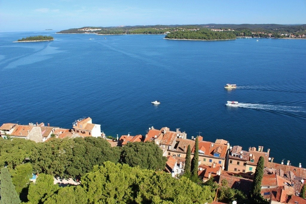 We could see the coastline extend north of Rovinj from the church bell tower