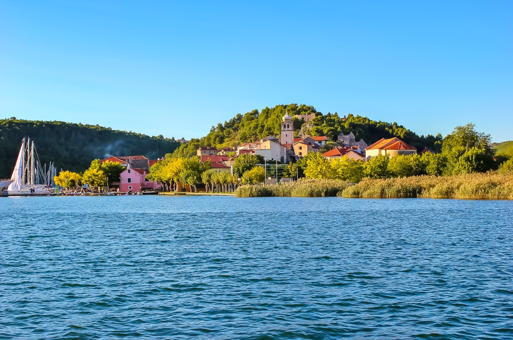 A view of Skradin, Croatia from the water