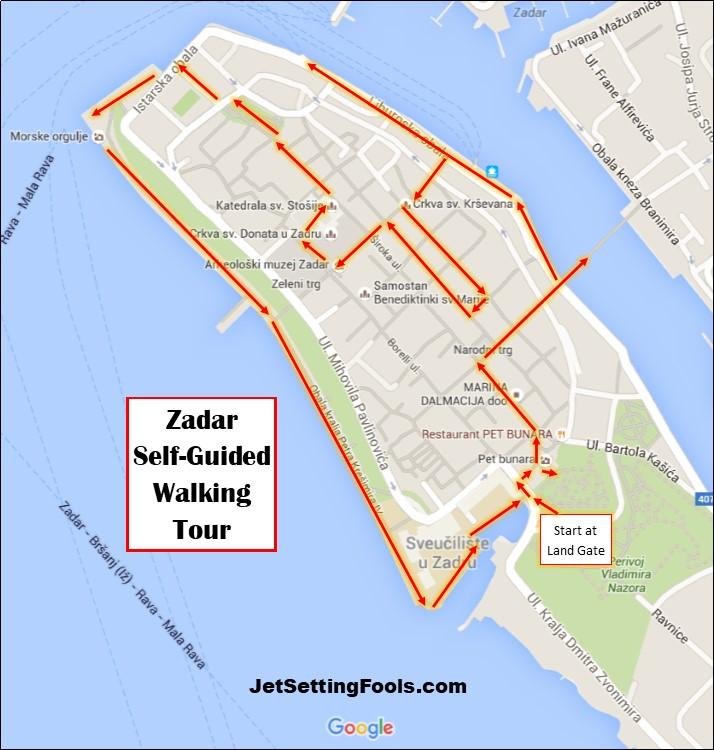 Zadar Walking Tour Map by JetSettingFools.com