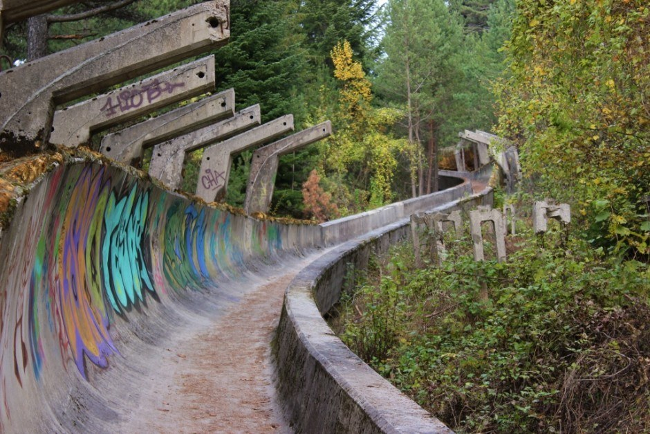Looking up a section of the abandoned Olympic bobsled track in Sarajevo