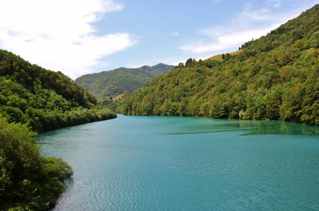 River views from scenic train in Slovenia, Bohinj Railway