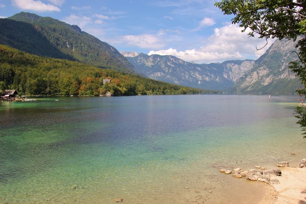 Shades of blue water at Lake Bohinj, Slovenia