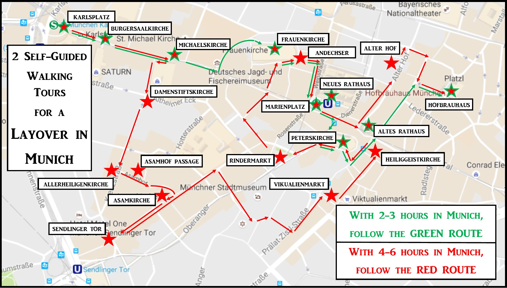 Layover in Munich Sightseeing Map with two walking routes JetSettingFools.com