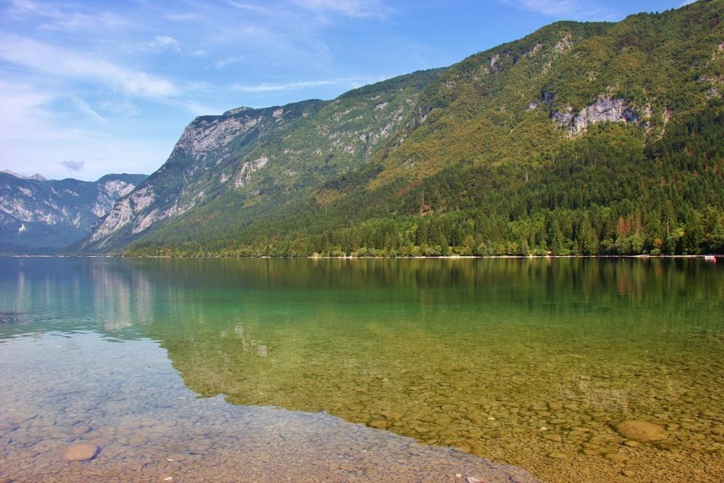 Mountain reflections on Lake Bohinj, Slovenia