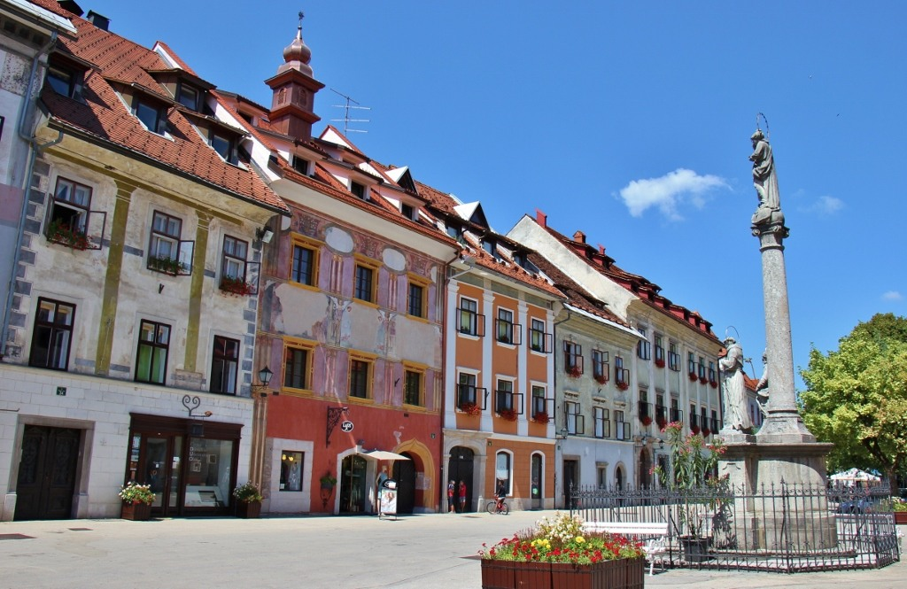The Old Town Hall and Mark of Mary are two sights in Skofja Loka on Mestni trg