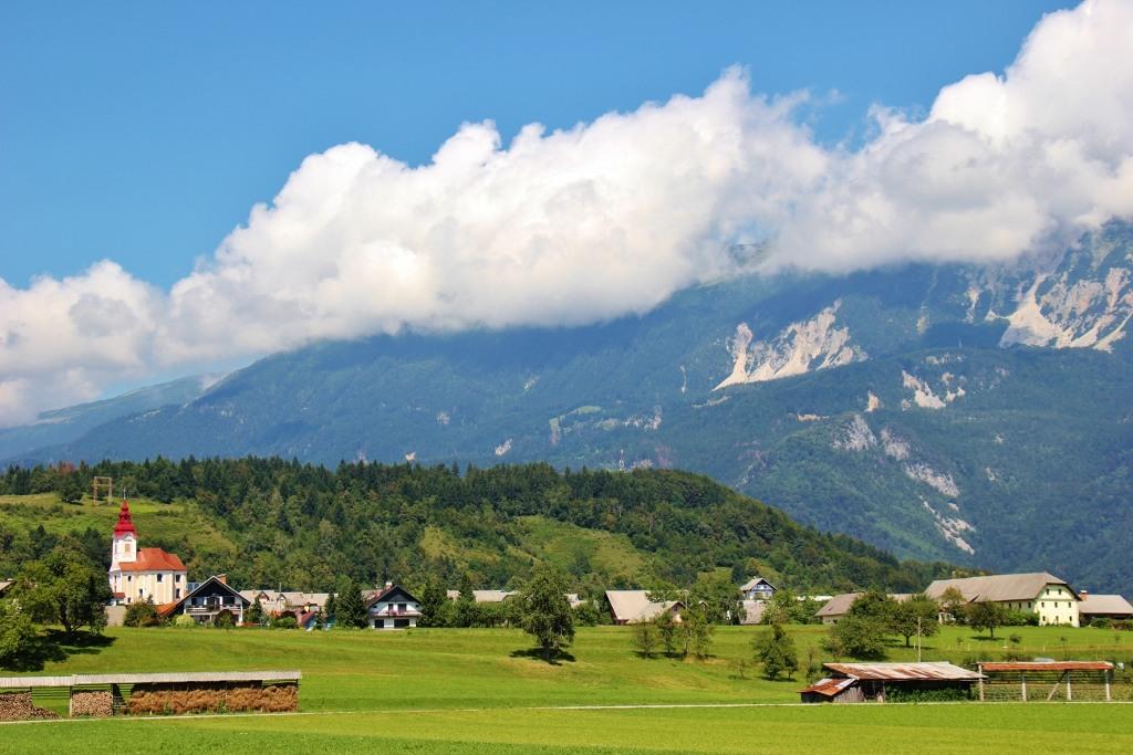 Farm fields of Zasip, Slovenia near Lake Bled