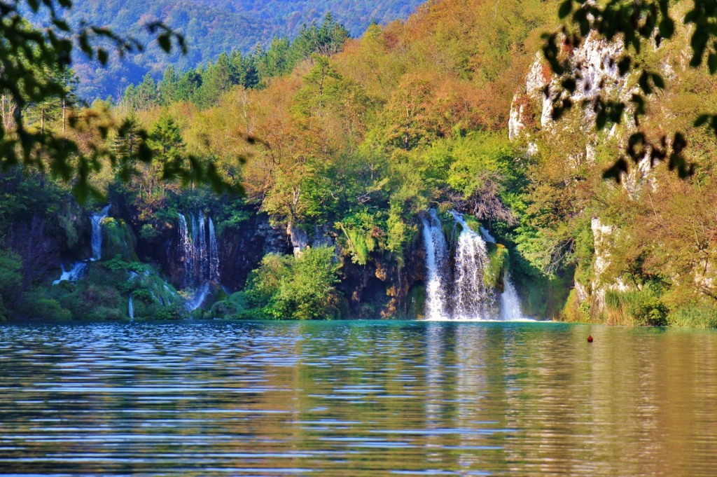 Waterfalls and Autumn Trees, Lower Lakes, Plitvice Lakes National Park, Croatia