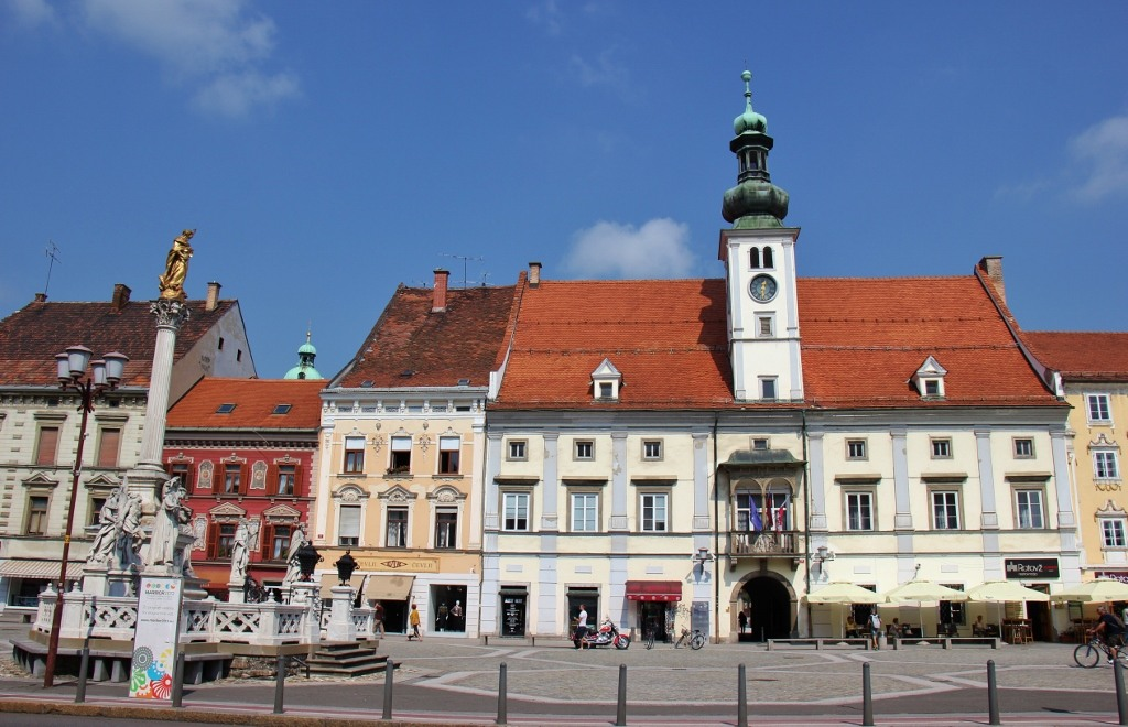 Plague Column and Town Hall on Glavni Trg Main Square in Maribor, Slovenia