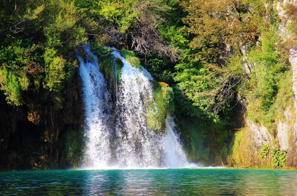 Waterfalls gush into teal pool, Lower Lakes, Plitvice Lakes National Park, Croatia