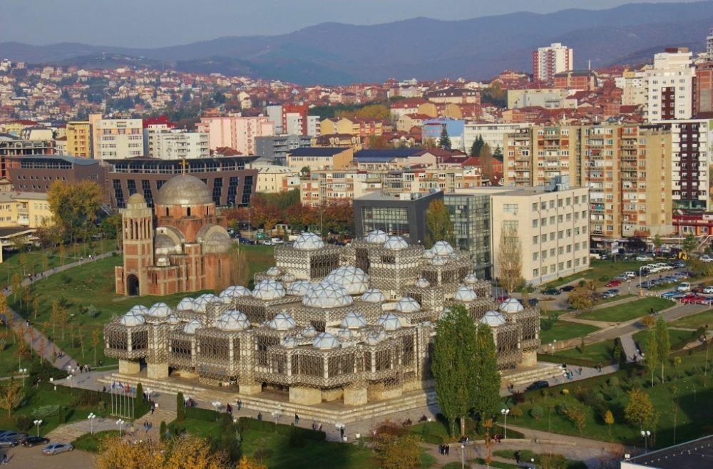 National Library of Kosovo and Church of Christ the Savior in Prishtina, Kosovo