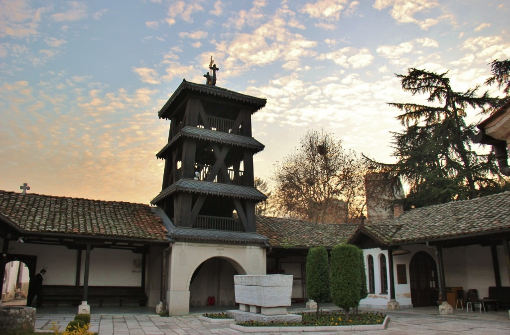 Inside Church of Holy Savior complex at sunset, Skopje, Macedonia