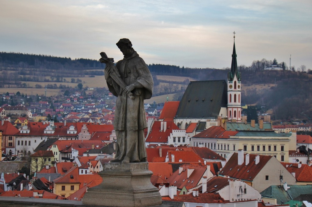 View from the Cloak Bridge of the Old Town and St. John of Nepomuk Statue, Cesky Krumlov, Czech Republic