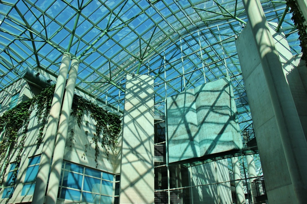 Glass ceiling of University of Warsaw Library in Warsaw, Poland