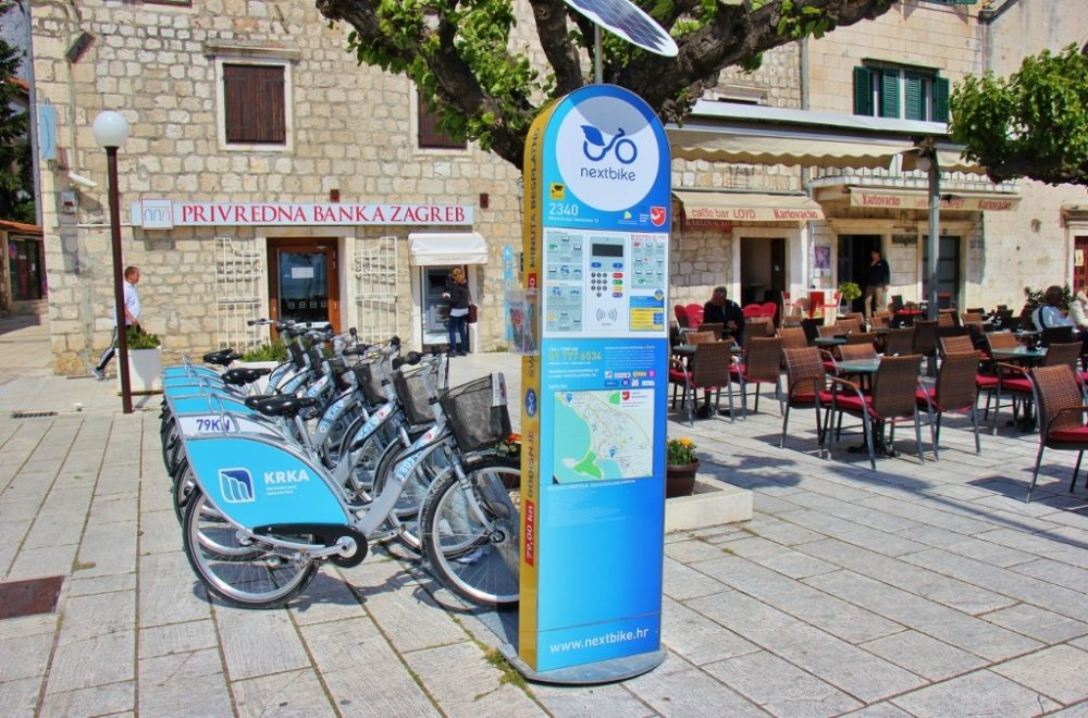 City bikes for rent by Nextbike, Makarska, Croatia