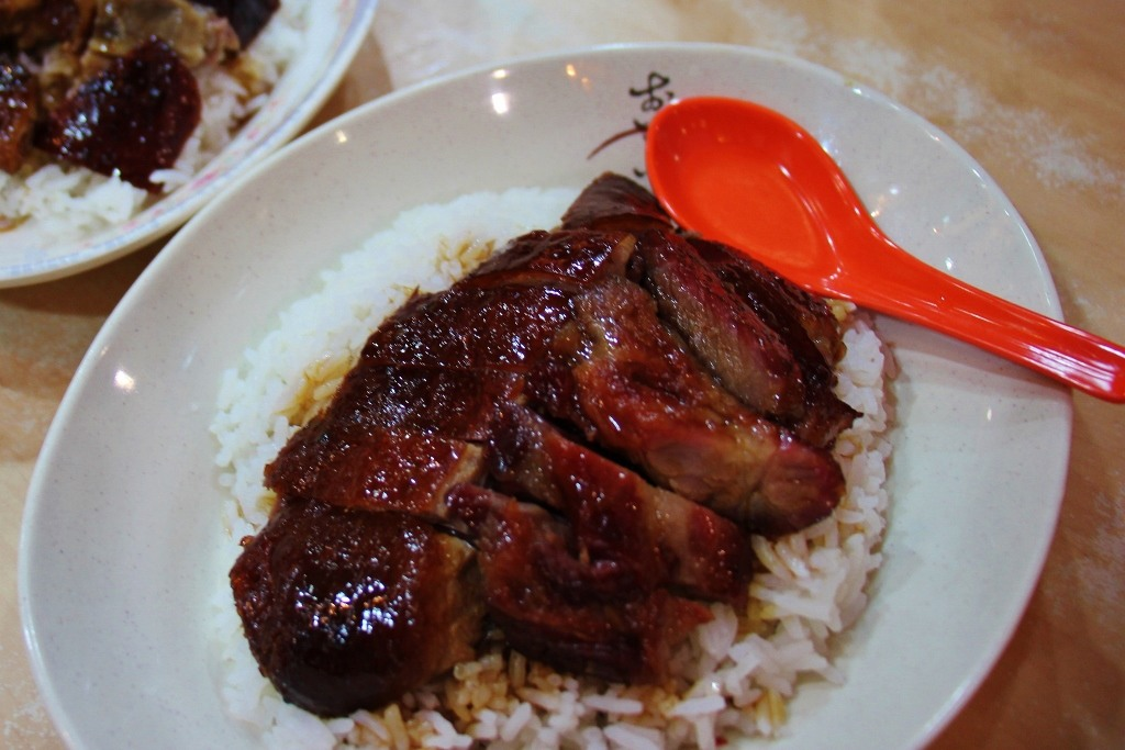 Roasted Goose on steamed rice at Yat Lok in Central Hong Kong