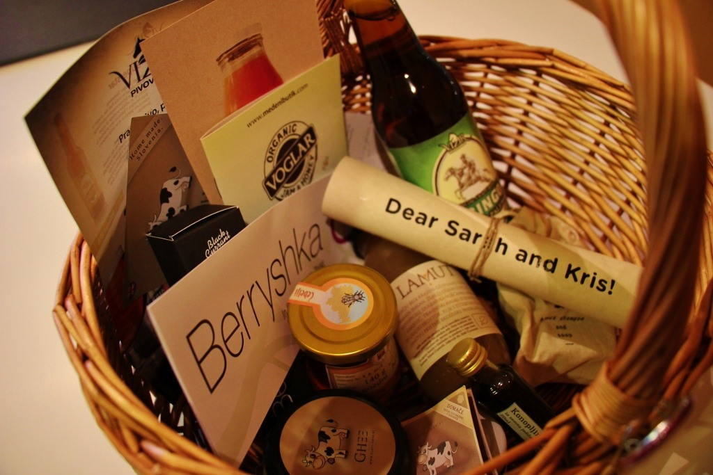Welcome basket of goods from Big Berry Partners in Slovenia