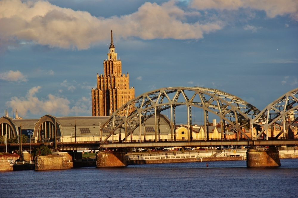 Iconic landmarks of Riga, Latvia: Central Market, Latvian Academy of Sciences and Dzelzcela train bridge