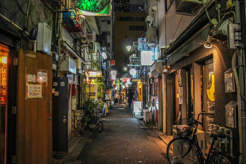 Alley in Shinjuku Golden Gai in Tokyo, Japan