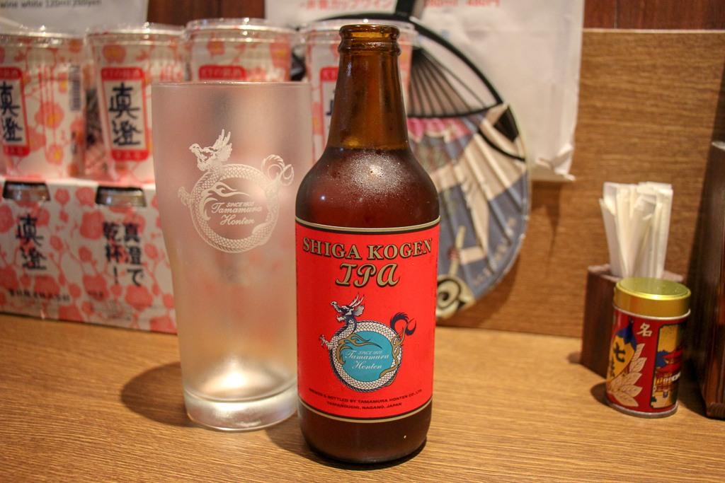 Bottle of Shiga Cogen IPA at Shinshu Osake Mura in Tokyo, Japan