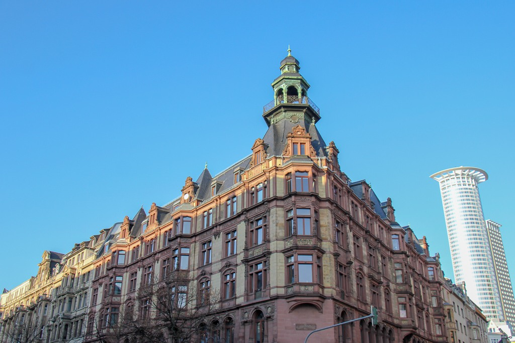 Classic architecture on Kaiserstrasse in Frankfurt, Germany