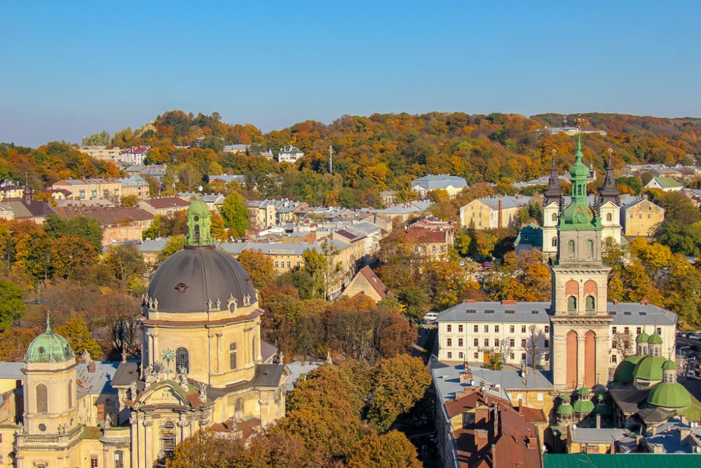 View of Old Town and parks from the Town Hall Clock Tower platform in Lviv, Ukraine
