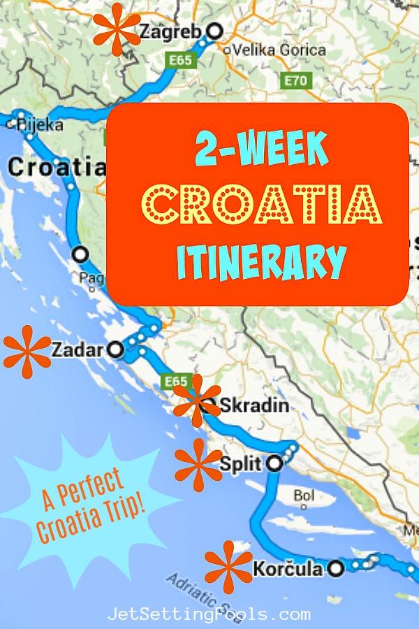 2-week Croatia Itinerary Perfect Trip Map by JetSetting Fools