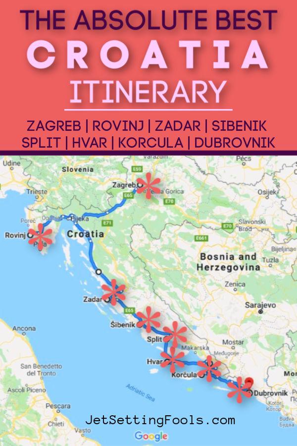 Best Croatia Itinerary Map by JetSettingFools.com