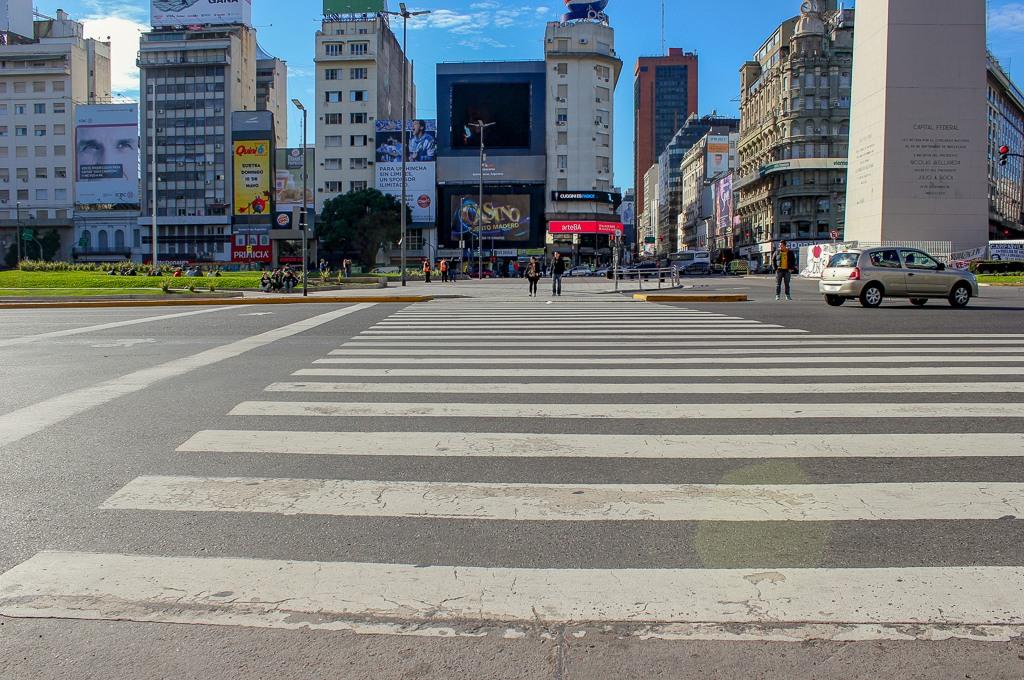 Avenida 9 de Julio crossing walk in Buenos Aires, Argentina