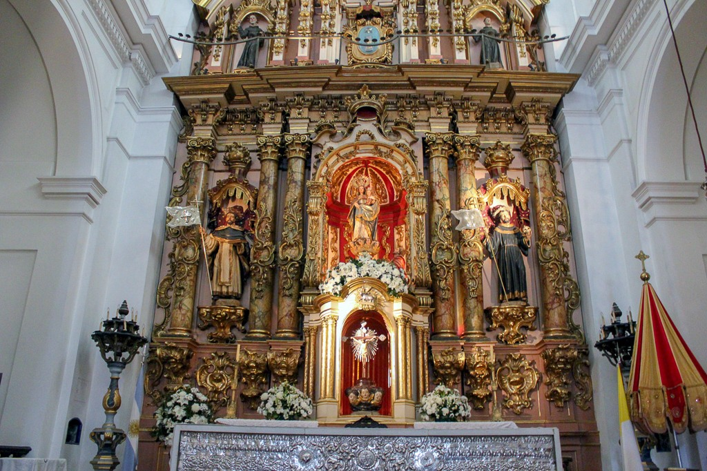 Ornately decroated altar at Basilica of Our Lady of the Pillar in Buenos Aires, Argentina
