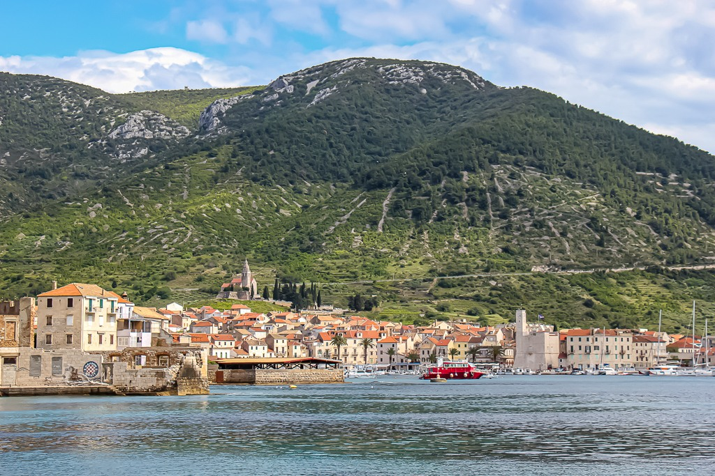 View of Komiza Town on Vis Island, Croatia