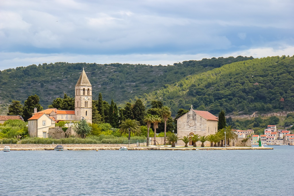 Sailing into Vis Port on Vis Island, Croatia