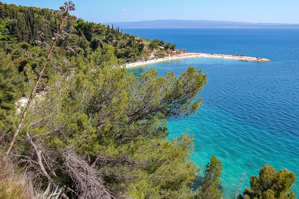 View of Kasuni Beach from Marjan Hill in Split, Croatia