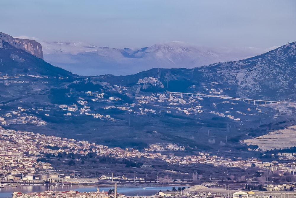 Distant view of Klis Fortress in Split, Croatia