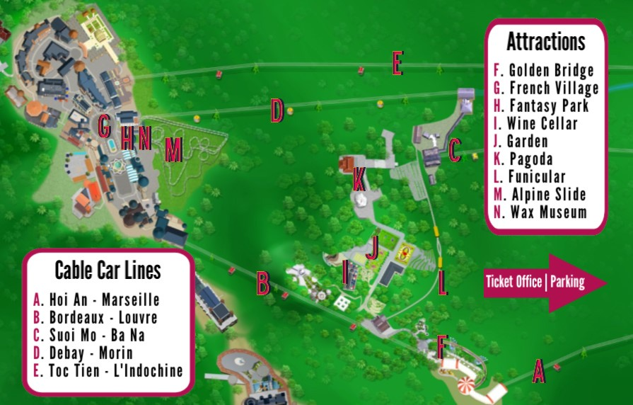 Ba Na Hills Map of Attractions