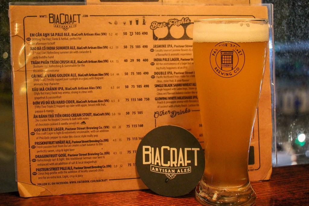 Bia Craft Beer Bar Menu,Bia Craft, Saigon, HCMC, Vietnam