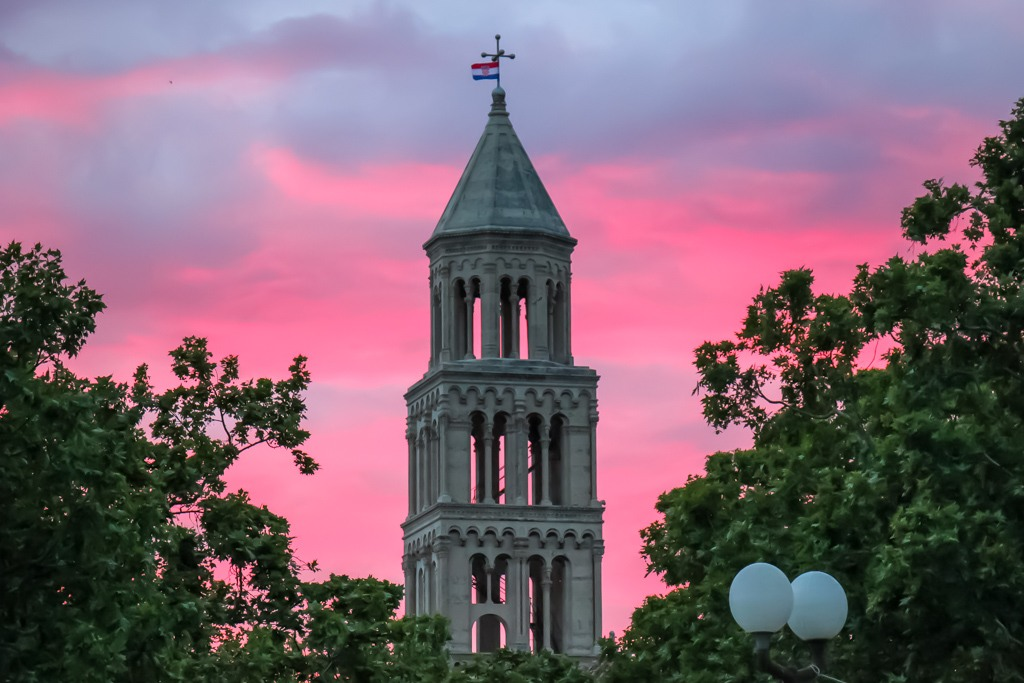 amzing Split Bell Tower Sunset, Croatia