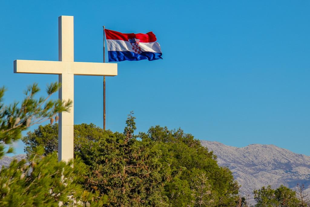 Flag and Cross on top of Marjan Hill, Split, Croatia