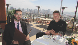 (l to r) General Manager Ryan Thorsen and Chef Stephane Voitzwinker in front of the incredible view from Mister A's outside deck (Photo by SDUN)