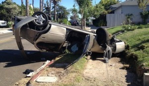 On July 15, this car overturned in Nate and Kate White's yard on Aldine Drive. (Courtesy Diane Larabee)