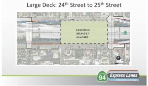 """A second option is a larger, 4.6-acre deck. A """"super deck"""" would cover the entire space between 22nd and 25th streets. (Courtesy SANDAG)"""