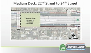 One option for the proposed lid over SR 94 is a medium, 3-acre deck. (Courtesy SANDAG)