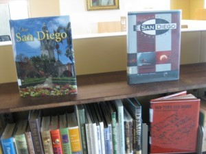 (l to r) From the Marilyn and Gene Marx Special Collections room, books and specialized equipment help search San Diego history. (Courtesy San Diego Public Library)