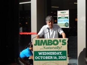 """Owner Jim """"Jimbo"""" Someck addressed the crowd at the opening of new Downtown store. (Photo by Morgan M. Hurley)"""