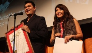 """(l to r) """"DOCUMENTED"""" Director Jose Antonio Vargas and SDAFF Executive Director Lee Ann Kim (Photo by Jose Bucud)"""